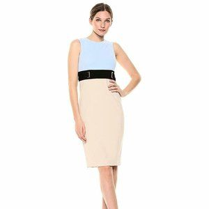 CALVIN KLEIN Color Block Tan Blue Sheath Dress